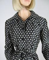 Cute Vintage 70s Abe Schrader Novelty Club Print Woven Coat