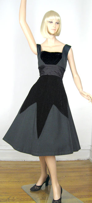 Dramatic Smart Miss Vintage 50s Velvet Diamond Party Dress