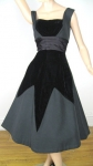Dramatic Smart Miss Vintage 50s Velvet Diamond Party Dress 04.jpg