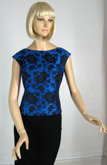 Lucitebox Item - Stunning Vintage 60s Rich Damask Top :  floral boatneck vintage rayon