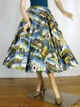 Amazing Vintage 50s Post Card Novelty Print Circle Skirt