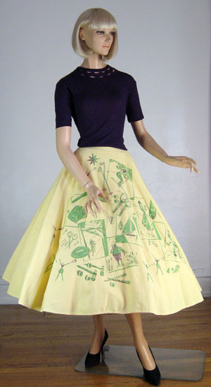 Lucitebox Item - Sporty Novelty Print Vintage 50s Circle Skirt :  novelty sporty yellow sketches