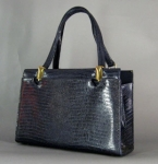 Classic Vintage 60s Navy Faux Reptile Kelley Bag