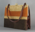 Tri-Tone Vintage 60s Suede Top Handle Purse