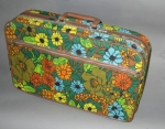 Lush Floral Print Vintage 70s Overnight Suitcase