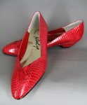 Sleek Vintage 80s Red Snakeskin Pumps