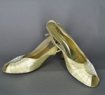 Metallic Gold 60s/70s Gold Lam� Peep Toe Pumps