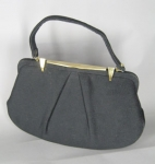 Oversize Black Wool Vintage 50s Gathered Purse