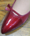 Shiny Cherry Red 60s Red Cross Low Heel Pumps