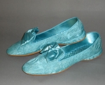 Turquoise Vintage 60s Satin Bedroom Slippers