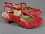 Cherry Red Vintage 40s/50s T-Strap Peep Toe Shoes