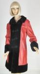 Red Leather Russian Princess Vintage 60s Coat