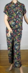 Stunning Vintage 40s Asian Wide Leg Pajama Set